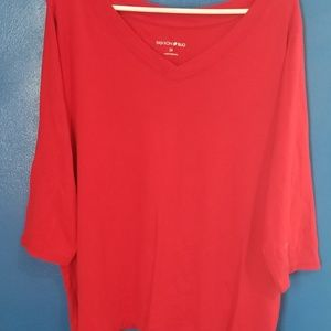 Womens Fashion Bug Plus Size 2X Red 3/4 sleeve Top